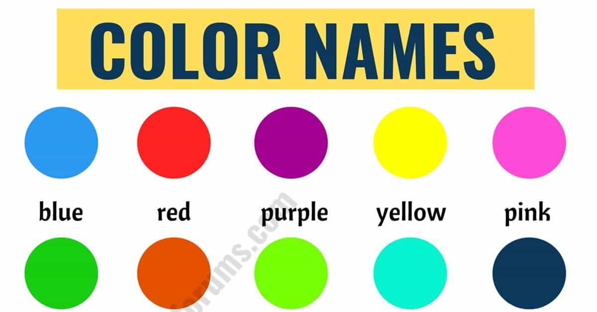 Color Names List Of Colors In English With The Picture Esl Forums