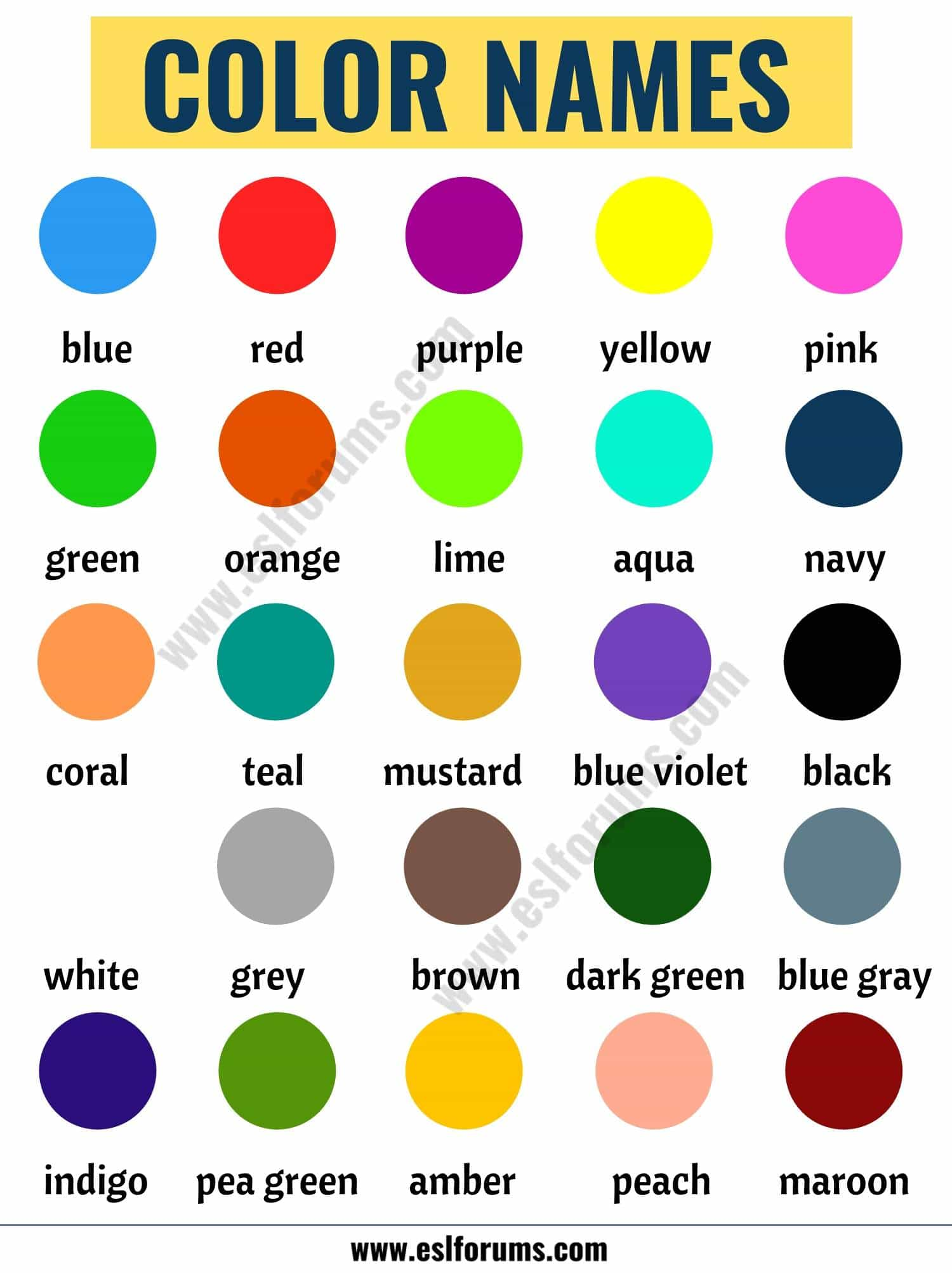Color Names: List of Colors in English with the Picture!