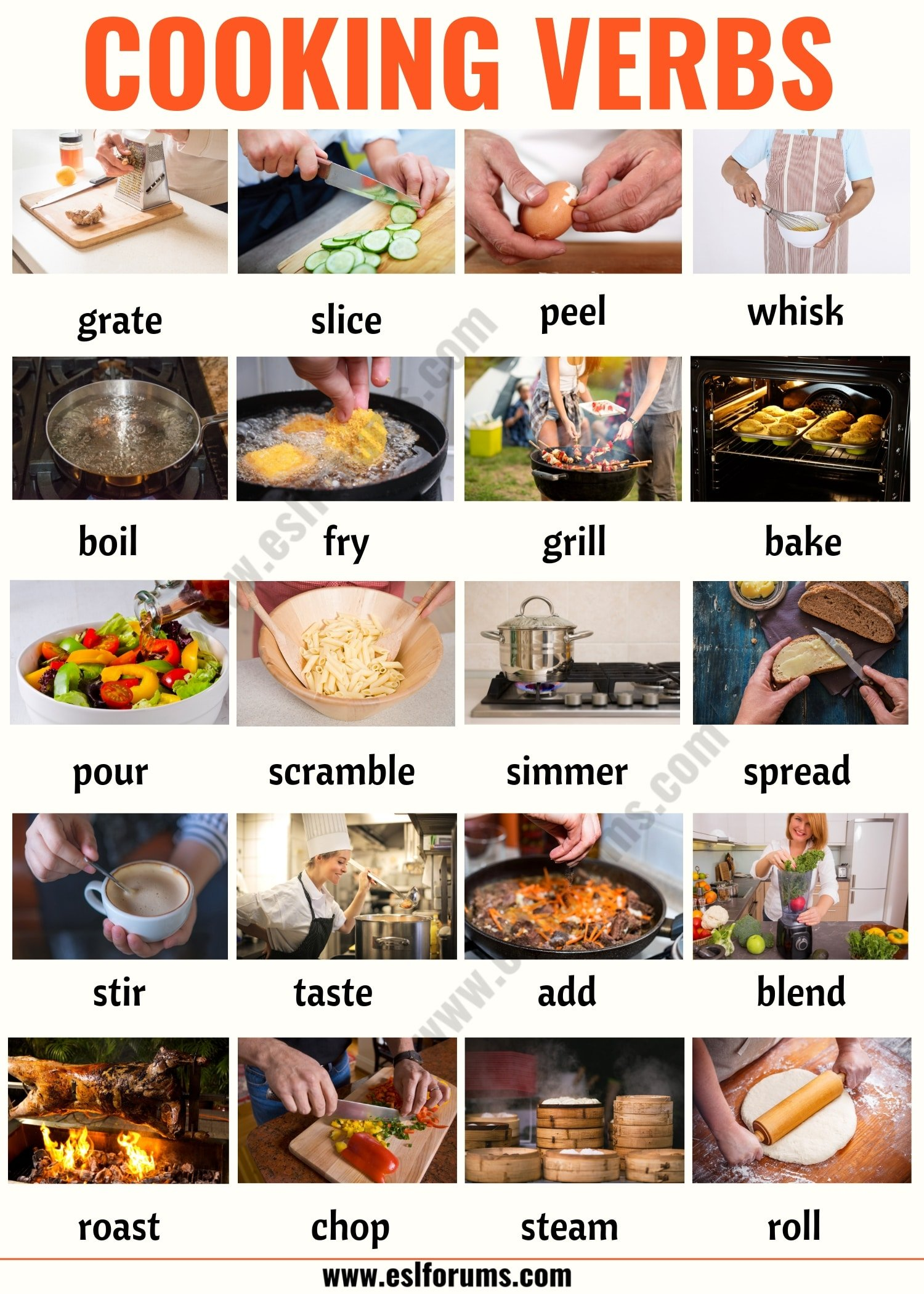 Cooking Terms: List of 20+ Useful Cooking Verbs in English