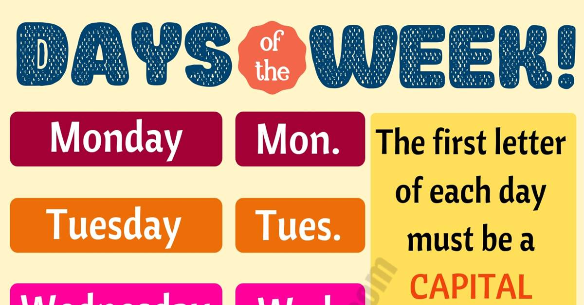 Fun Facts about 7 Days of the Week You Might not Know! 1