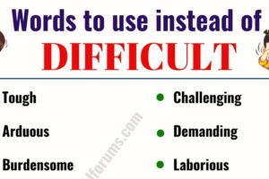 DIFFICULT Synonym: List of 18 Useful Words to Use Instead of Difficult 10