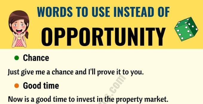 OPPORTUNITY Synonym: List of 15+ Synonyms for Opportunity 6