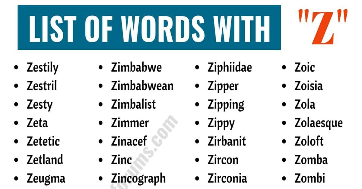 Words That Start with Z | Useful List of 300 Words with Z 1