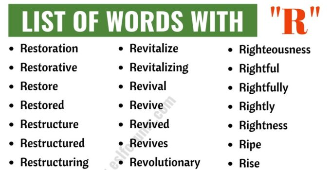Words that Start with R | List of 200 Words Starting with R in English 1