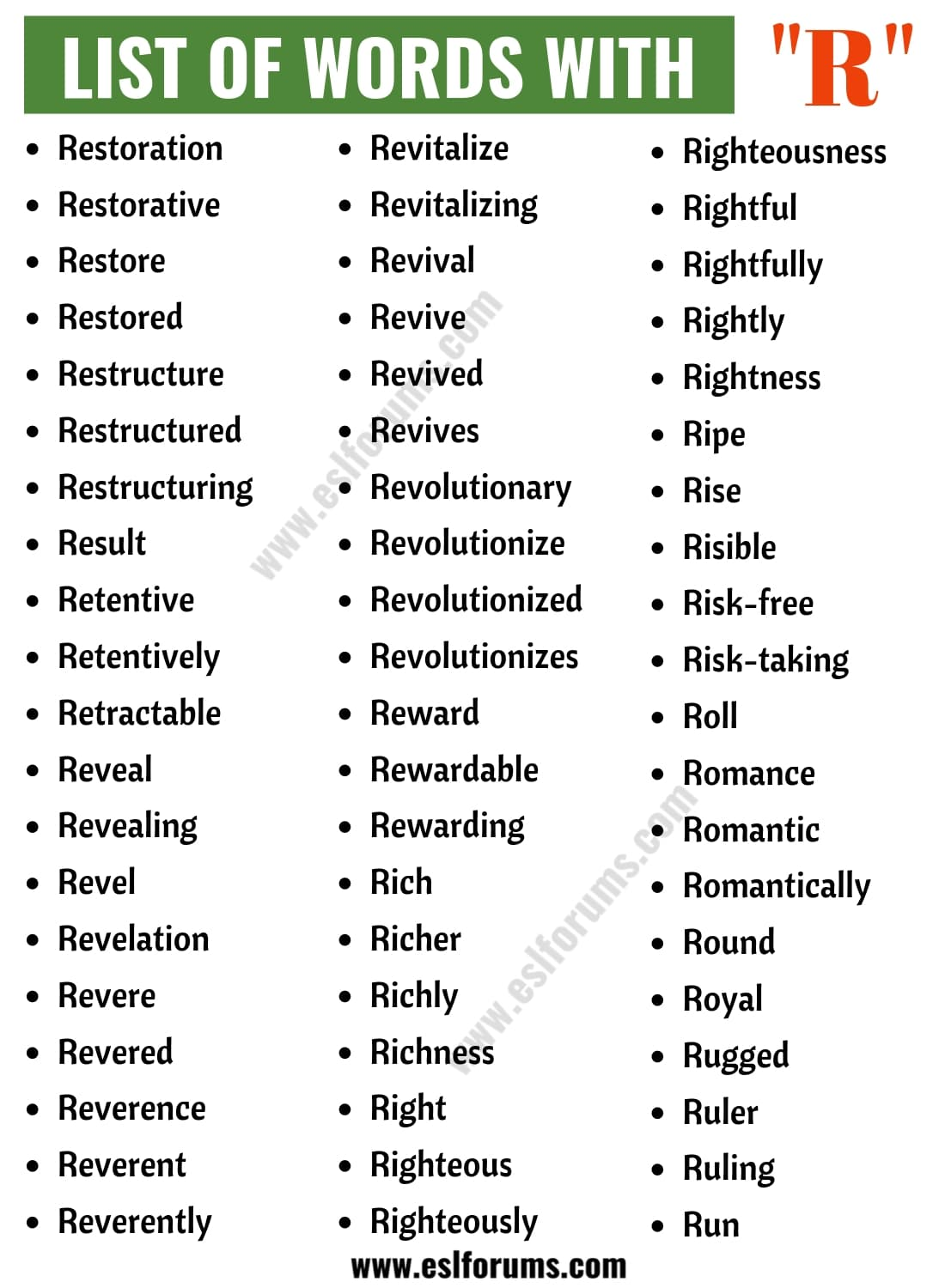 Words that Start with R | List of 200 Words Starting with R in English