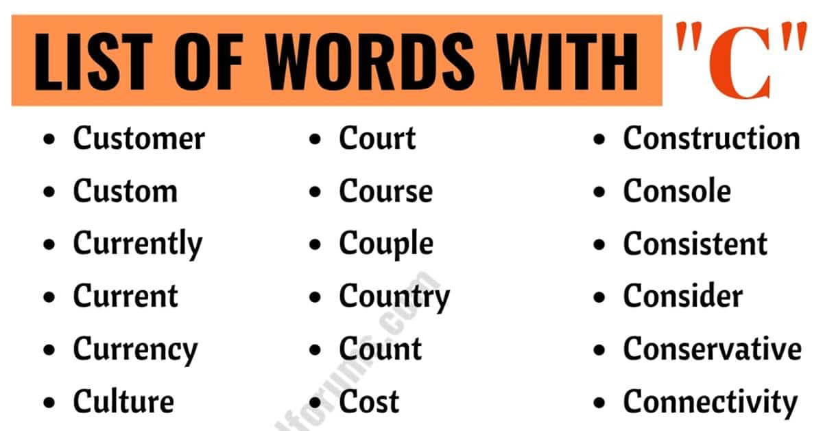 Words that Start with C | List of 530+ Words Starting with C in English 1