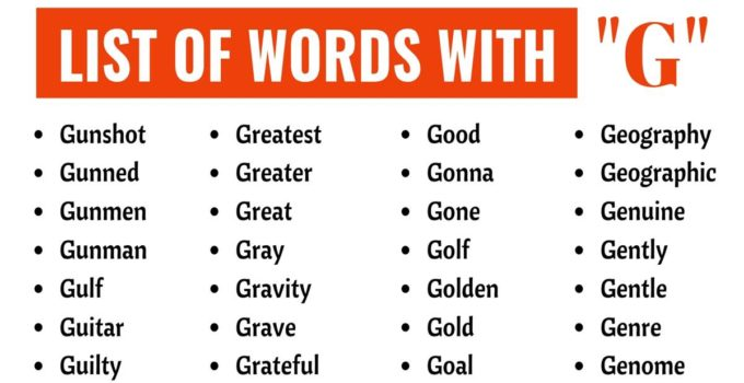 Words that Start With G | List of 140+ Common Words Starting with G 1