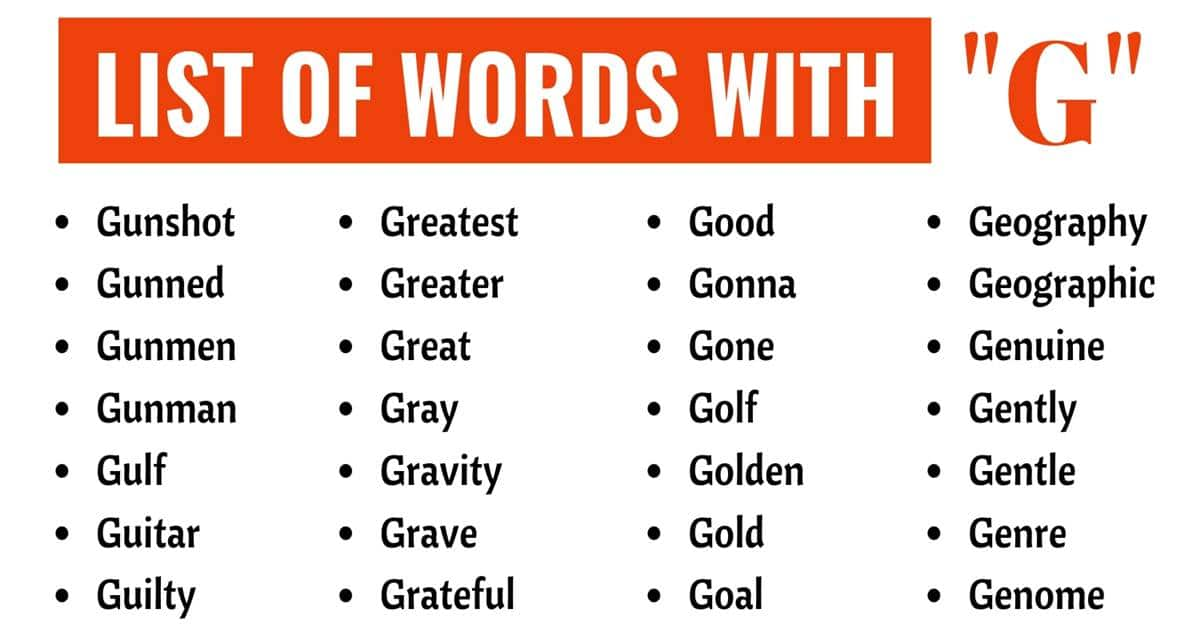 Words that Start With G | List of 400+ Popular Words Starting with G 1