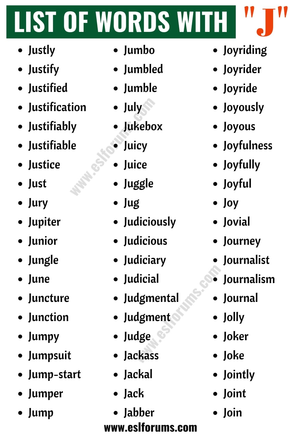 Words that Start with J | List of 120+ Common J Words in English