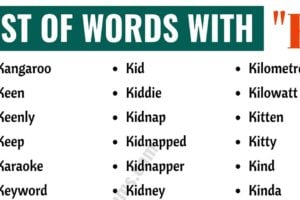 Words that Start with K | List of 120+ Common K Words with ESL Pictures! 4