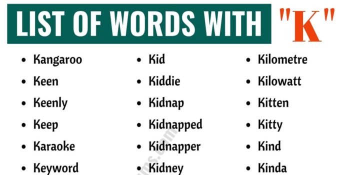 Words that Start with K | List of 120+ Common K Words with ESL Pictures! 1