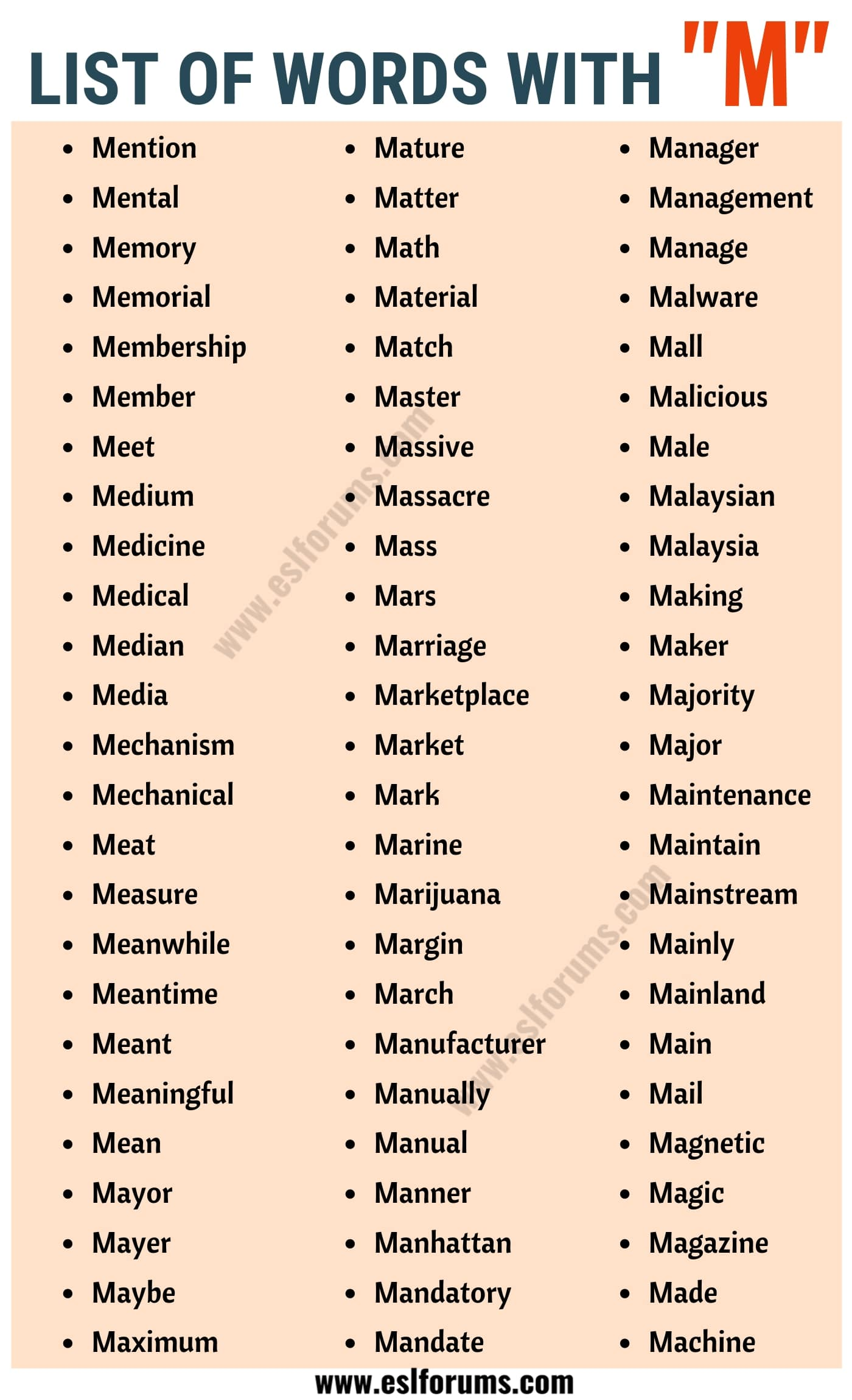 Words that Start with M | List of 150 Words Starting with M in English