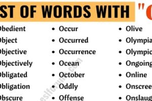 Words that Start With O | List of 130+ Popular O Words in English 5