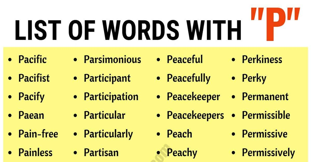Words that Start with P | List of 350+ Words Starting with P - ESL Forums