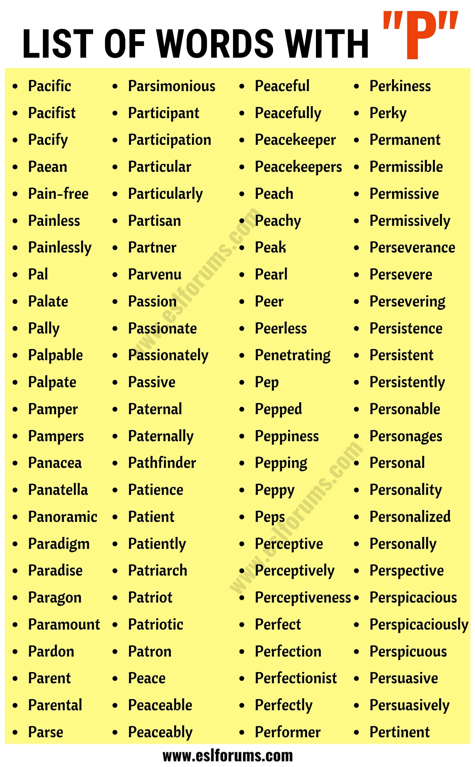 Words that Start with P | List of 350+ Words Starting with P