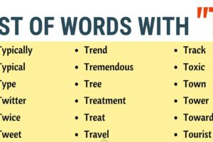 Words that Start with T | List of 150 Words that Start with T in English 11