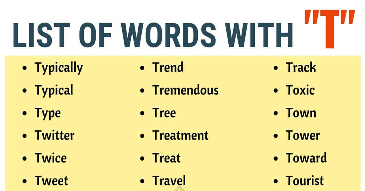 Words that Start with T | List of 150 Words that Start with T in English 1