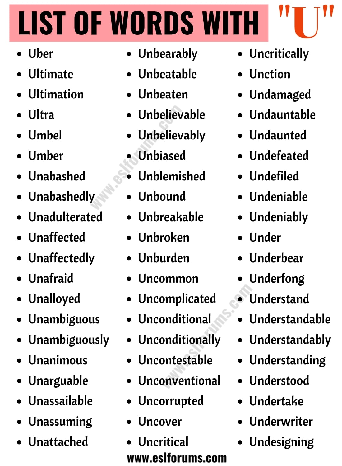 Words That Start with U | Useful List of 190+ Words Starting with U