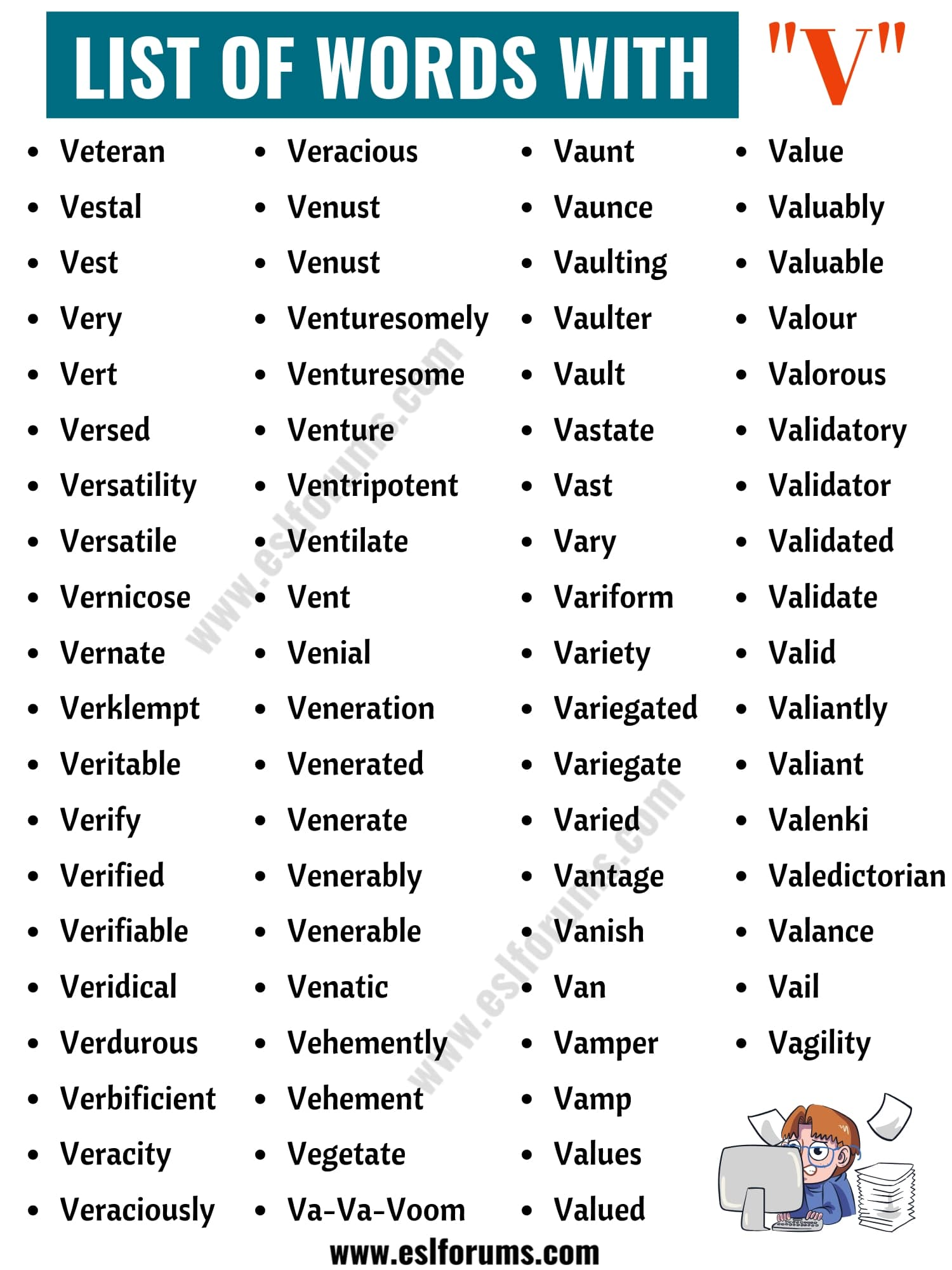 Words that Start with V | List of 150+ V Words in English with ESL Pictures!