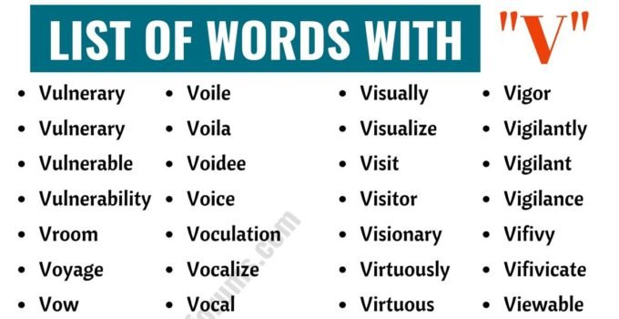 Words that Start with V | List of 150+ V Words in English with ESL Pictures! 1