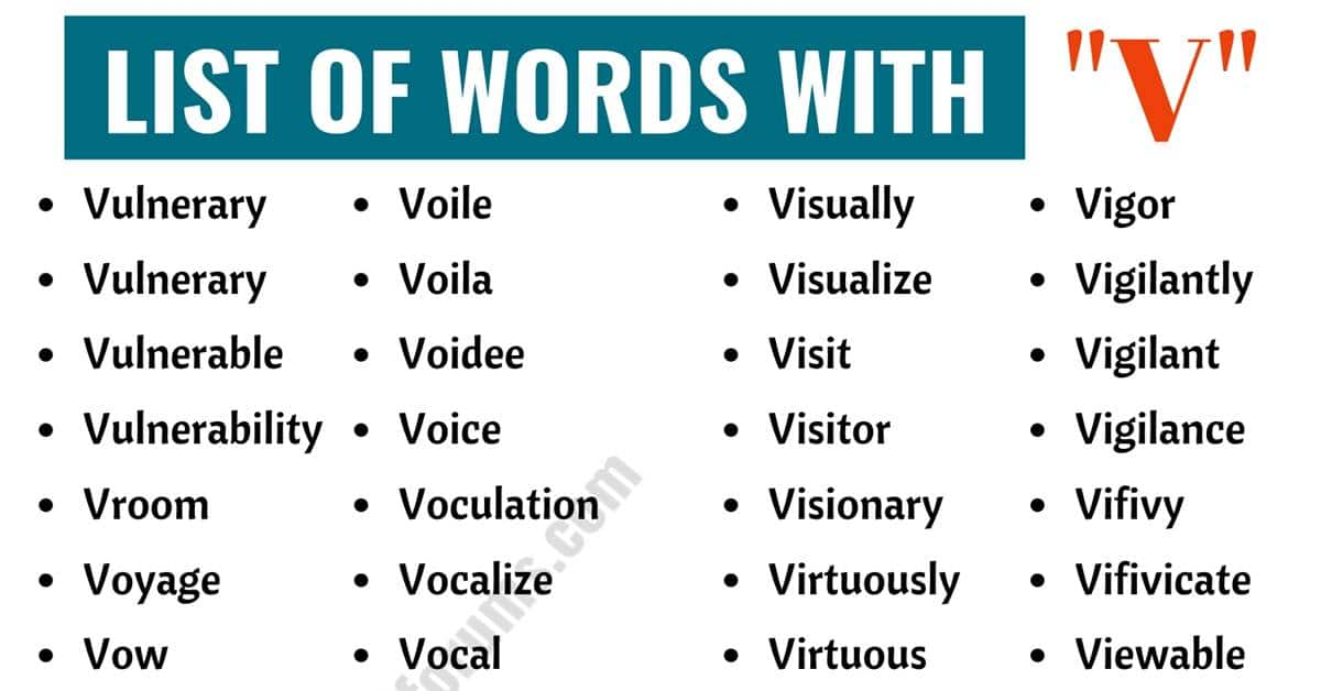 Words that Start with V | List of 260+ V Words in English with ESL Pictures 1