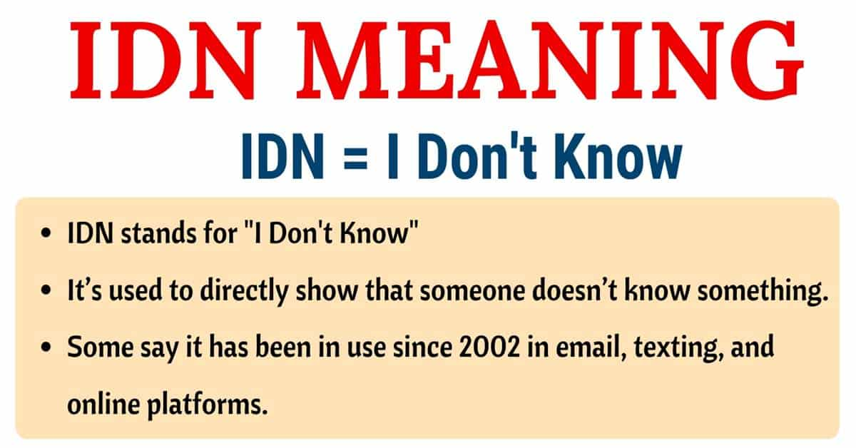IDN Meaning: What Does IDN Stand for? (with Useful Examples) 1