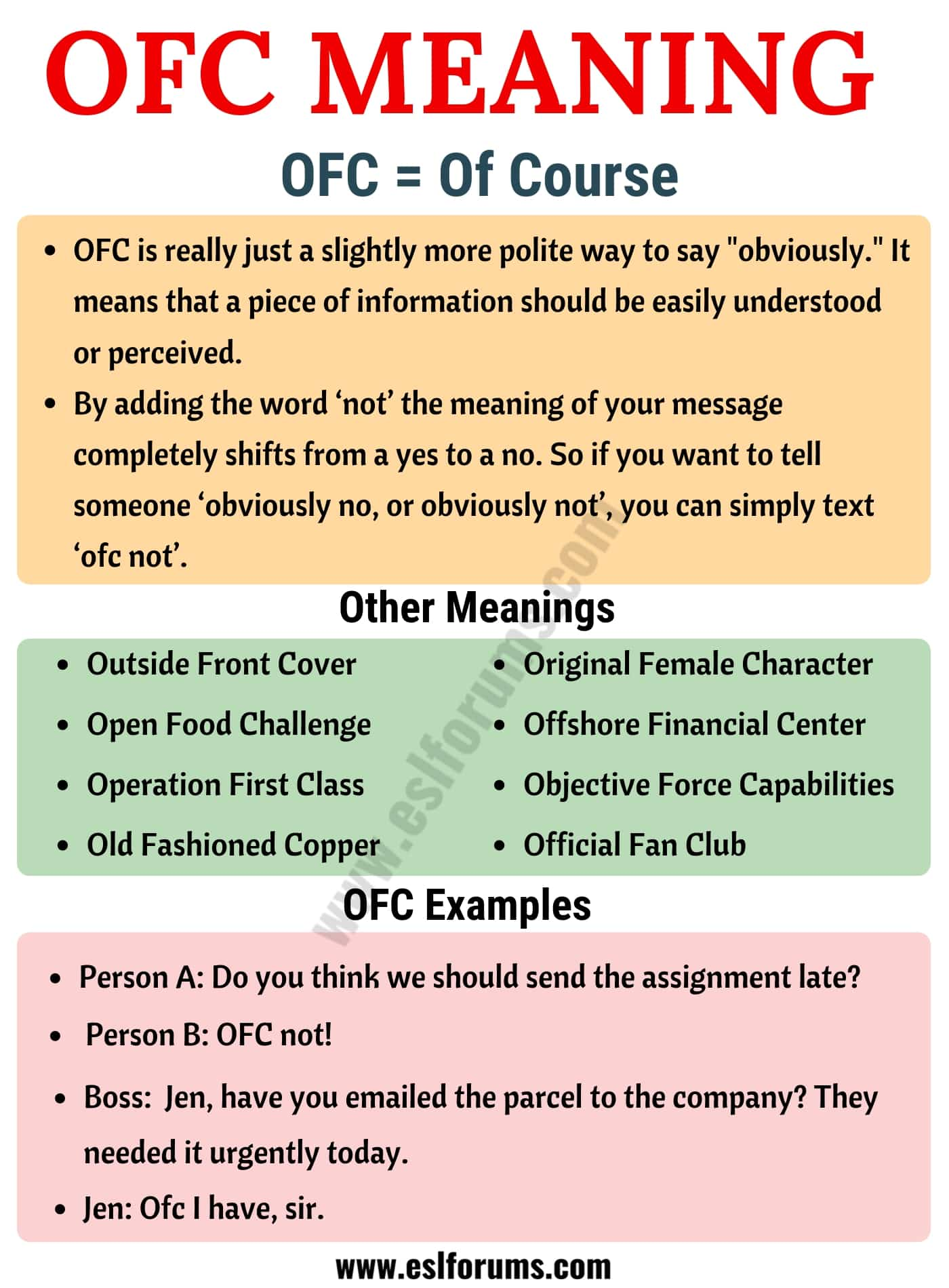 OFC: What Does OFC Mean in Texting? Useful Examples - ESL Forums