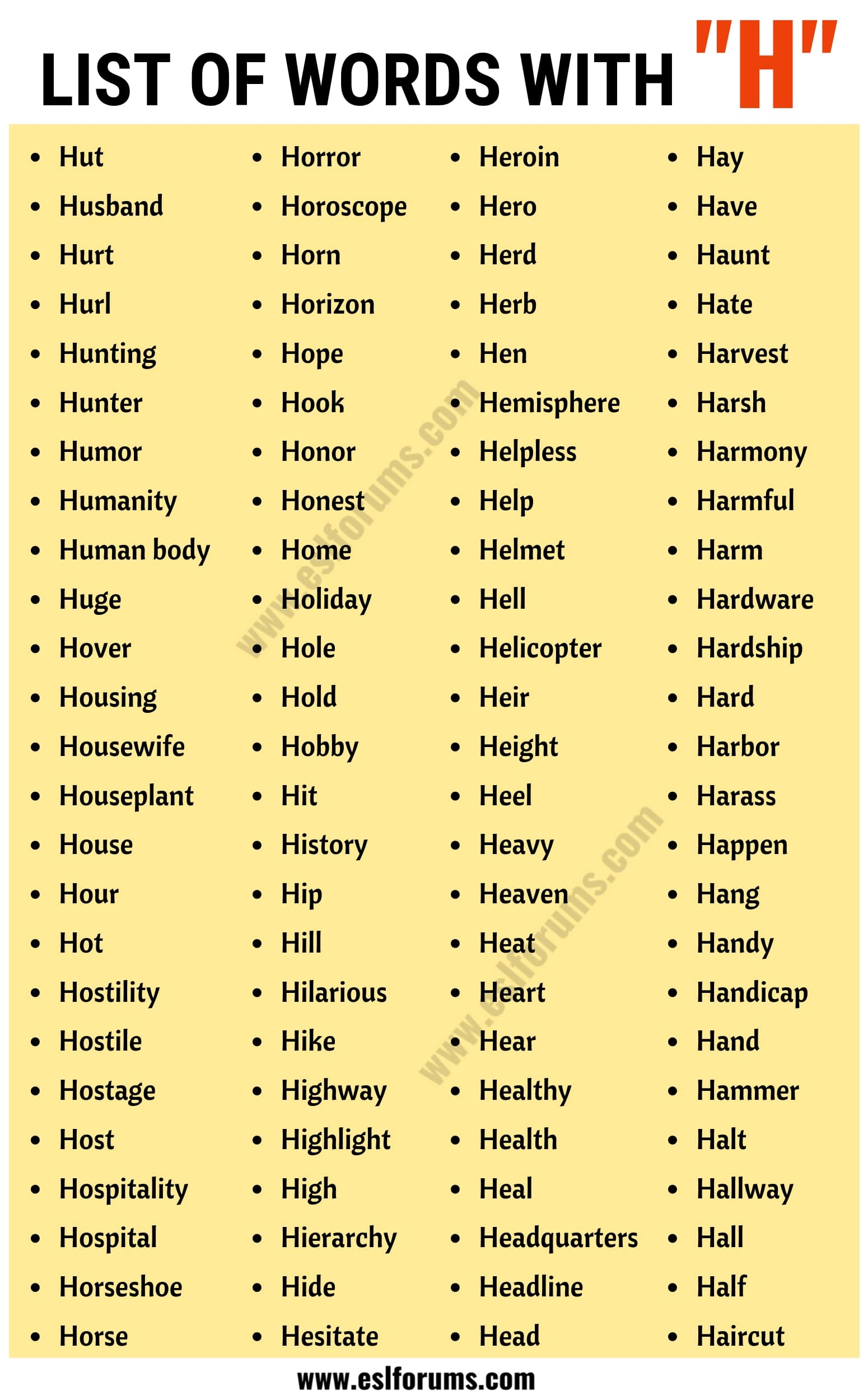 Words that Start with H | List of 100+ Words Starting with H in English
