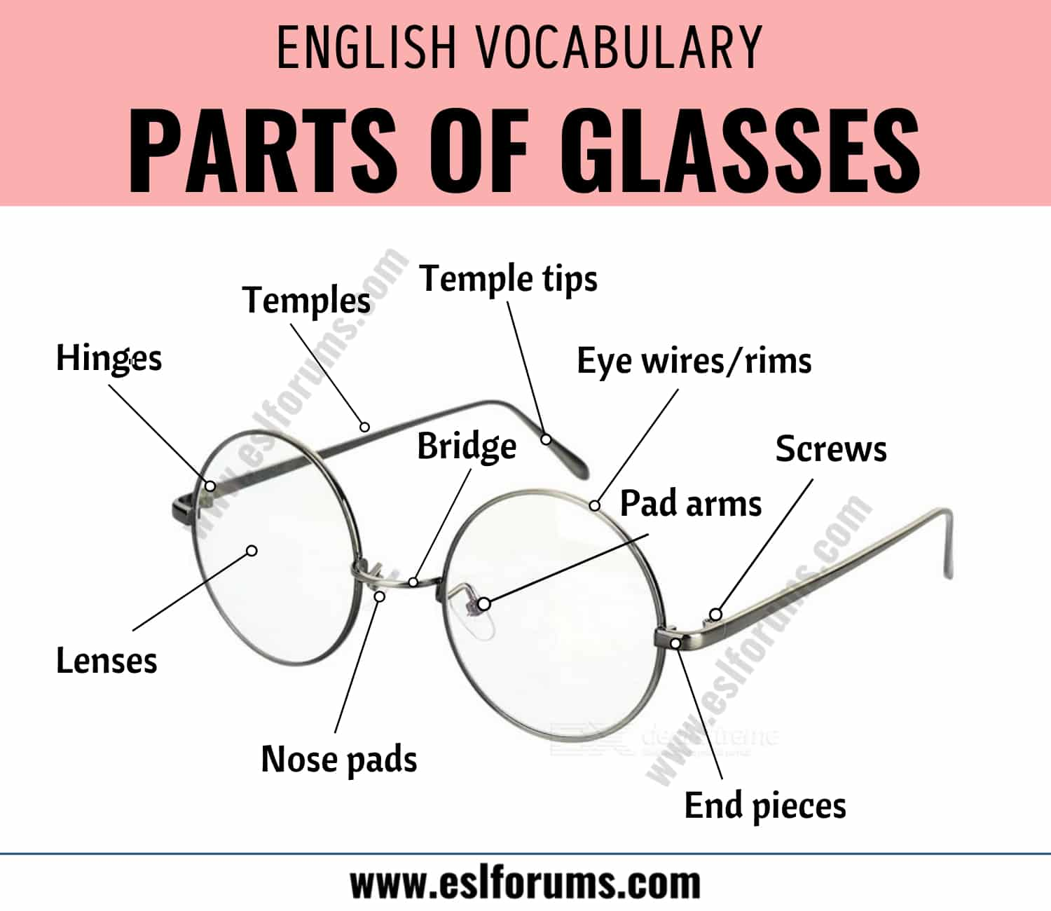 Parts of Glasses: Different Parts of Glasses with ESL Picture! 2