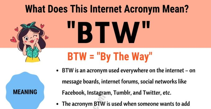 "BTW Meaning: How Do You Define the Trendy Acronym ""BTW""? 1"
