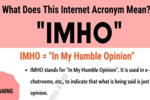 "IMHO Meaning: The Meaning and Examples of Useful Acronym ""IMHO"" 8"