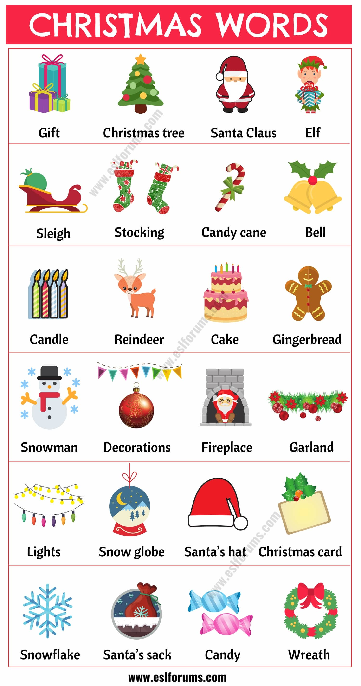 Christmas Words: List of Useful Words Related to Christmas with Example Sentences