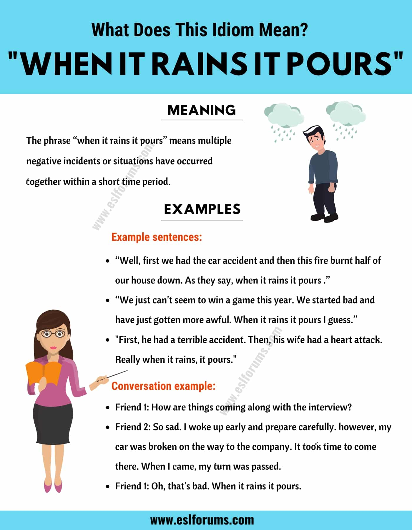 When It Rains It Pours: What Does This Popular Idiom Actually Mean?