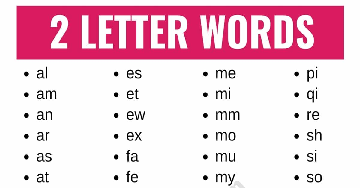 2 Letter Words: List of 100+ Words that Have 2 Letters in English 1