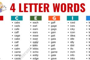 4 Letter Words: List of 2400+ Words that Have 4 Letters in English 13