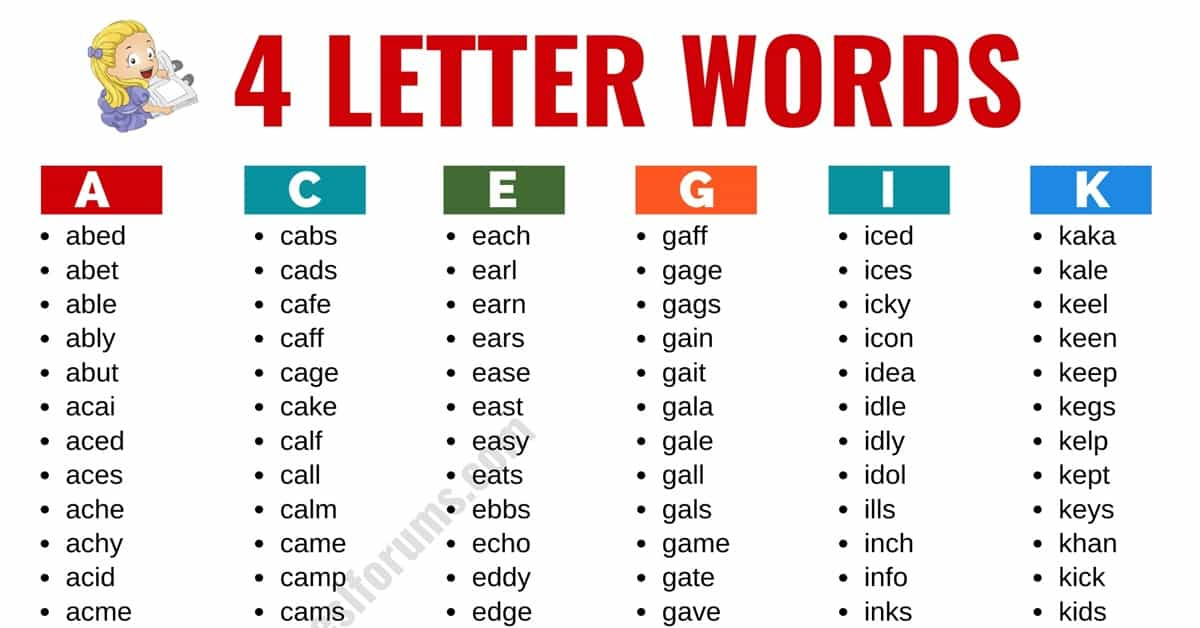 4 Letter Words: List of 2400+ Words that Have 4 Letters in English 7
