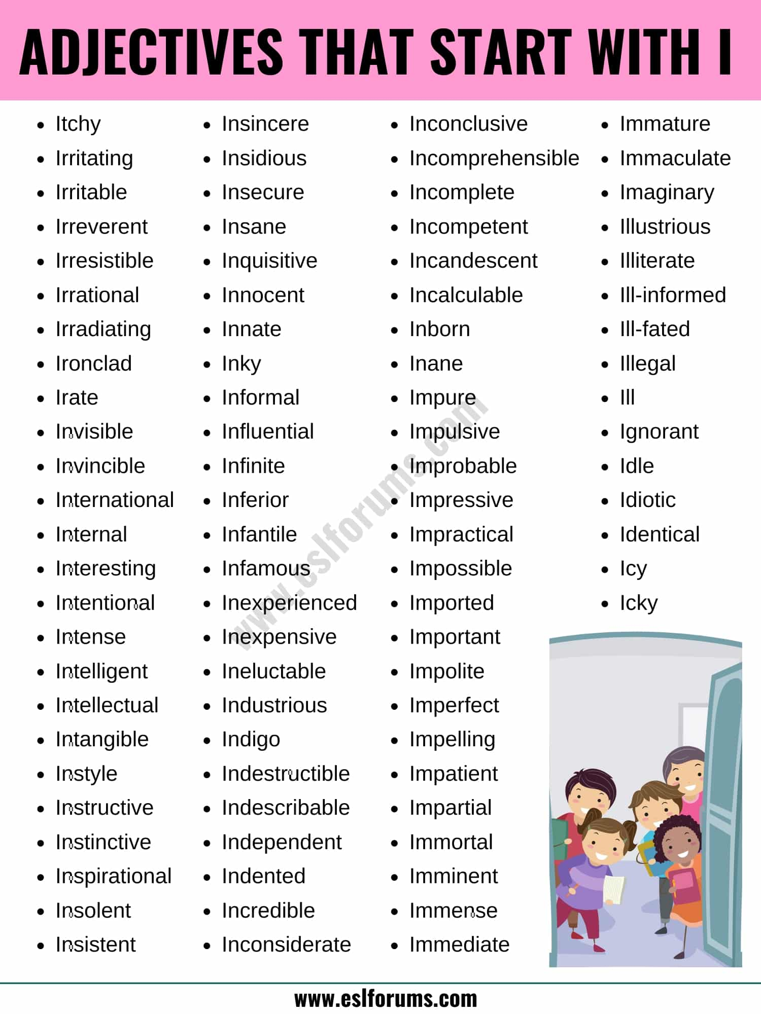 Adjectives that Start with I: List of 90 Adjectives Starting with I in English