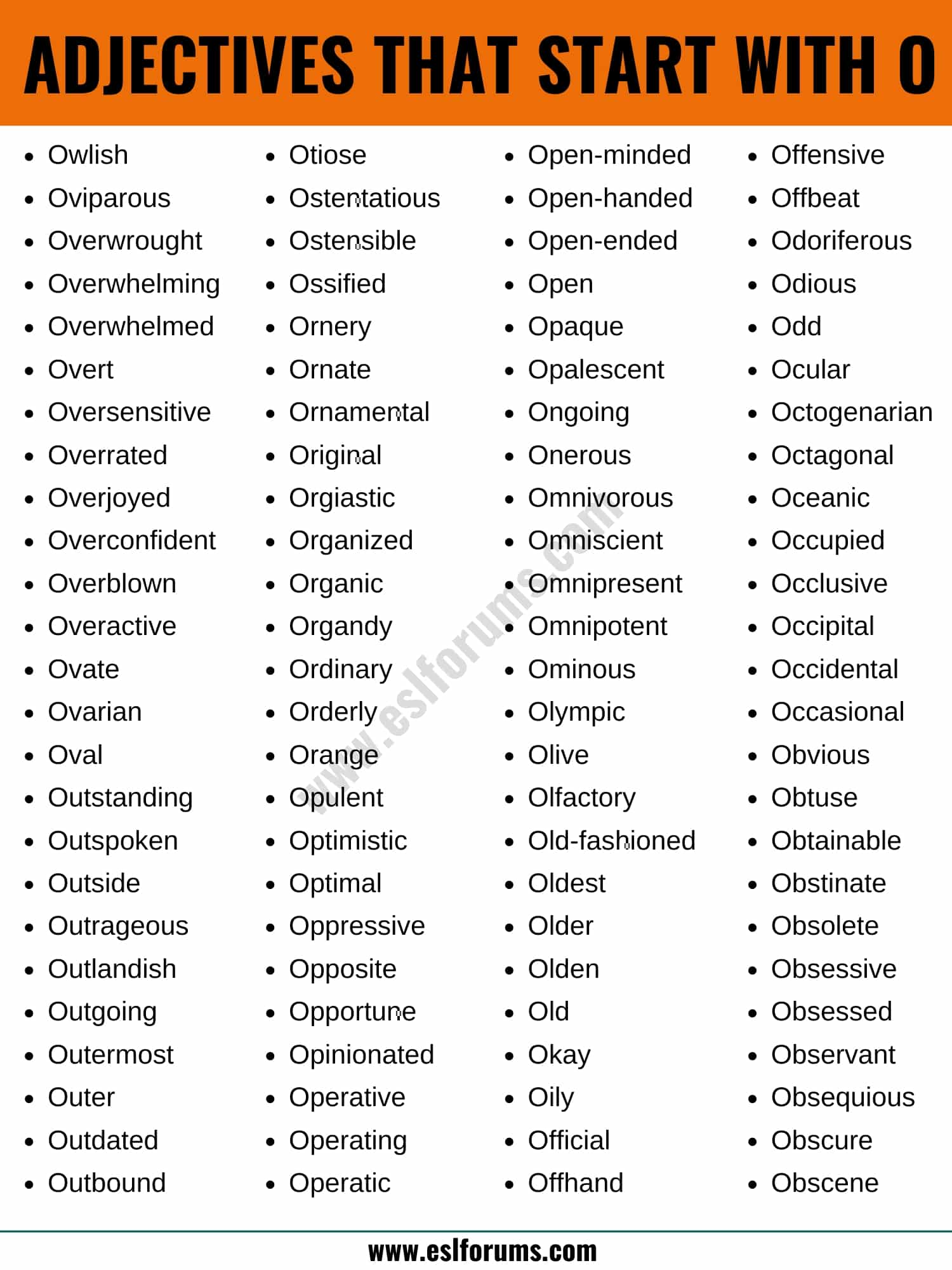 Adjectives that Start with O: List of 100+ Adjectives Starting with O in English