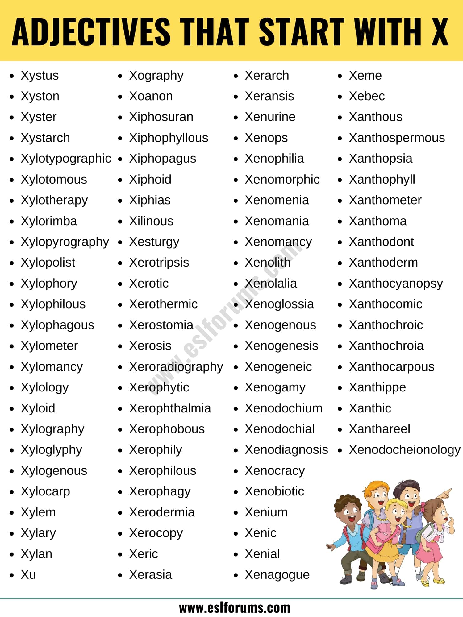 Adjectives that Start with X: List of 90+ Adjectives Starting with X in English