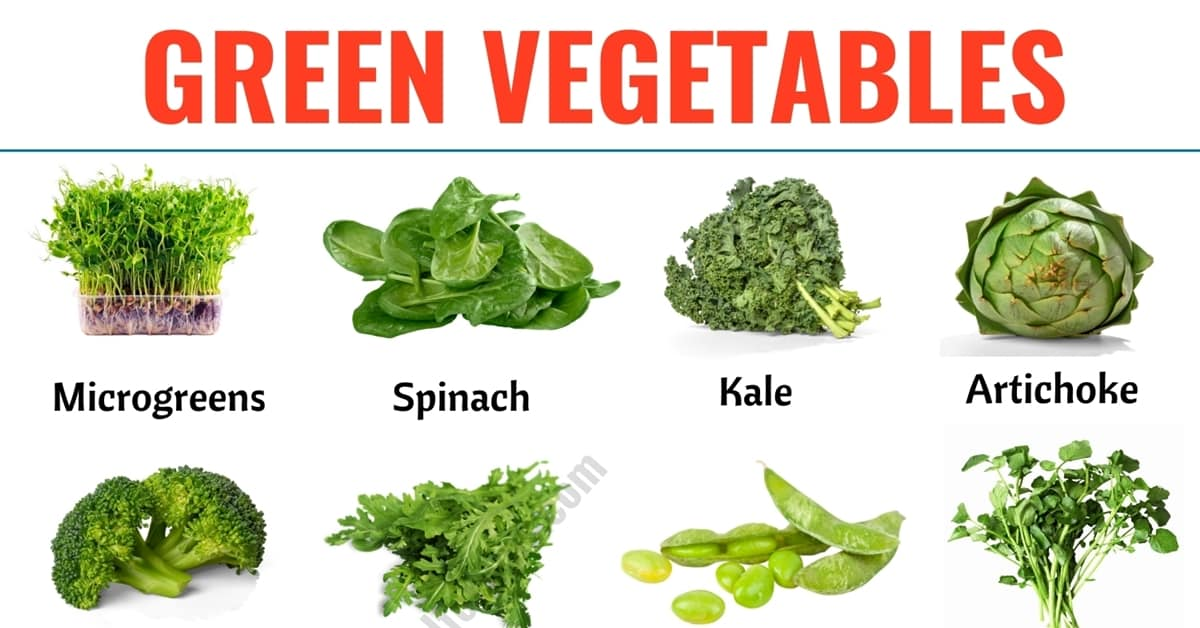 Green Vegetables: List of 28 Green Vegetables in English with ESL Picture! 1