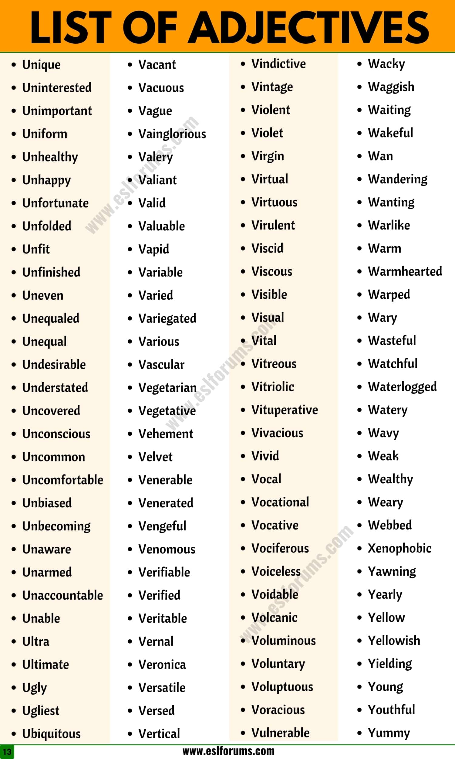 List of Adjectives: A Huge List of 1500+ Adjective Examples in English (from A to Z)