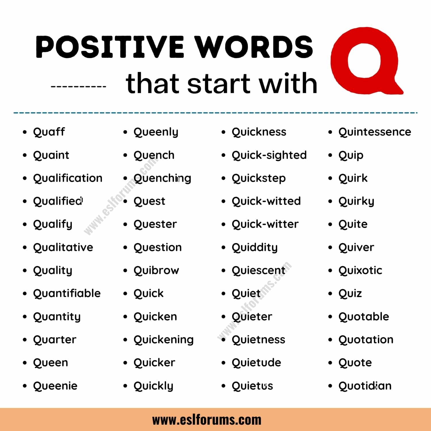 List of 50 the Most Common Positive Words that Start with Q