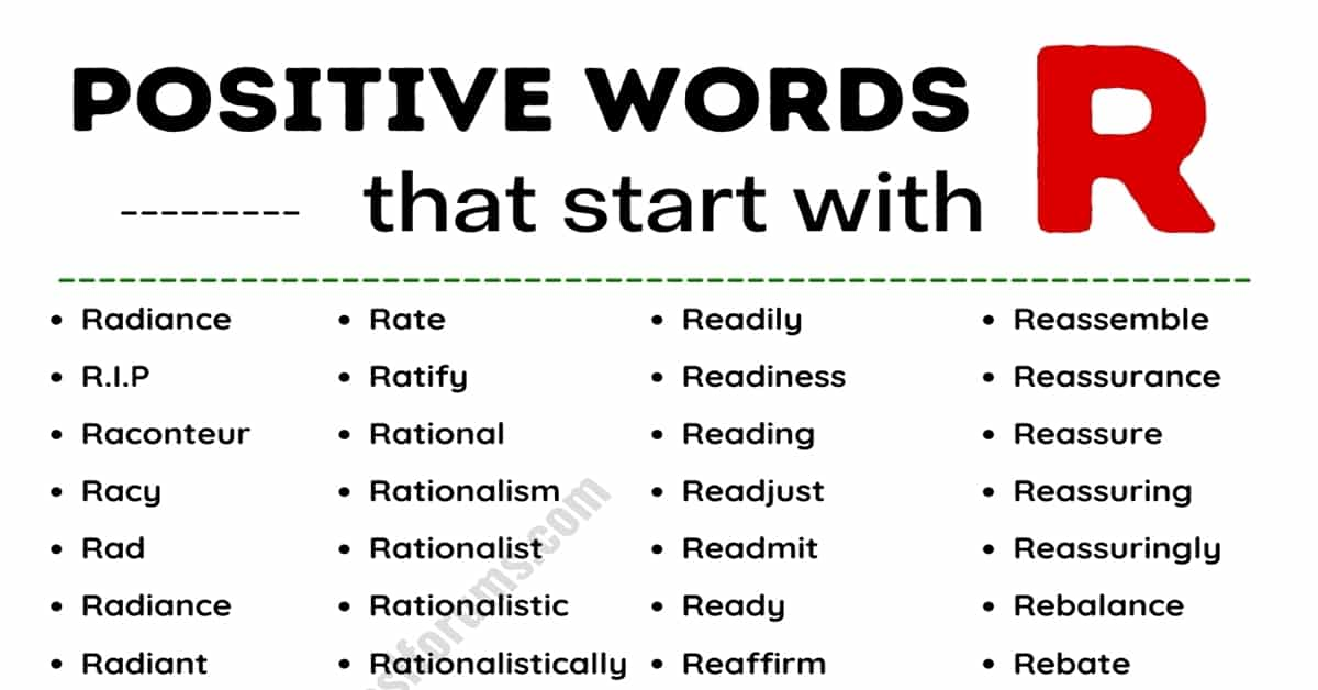 An Ultimate List of 430+ Positive Words that Start with R 5