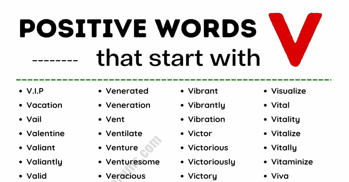 List of 130+ Common Positive Words that Start with V 1
