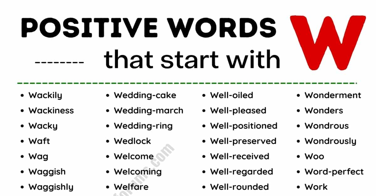 Top 180+ Commonly Used Positive Words that Start with W 3