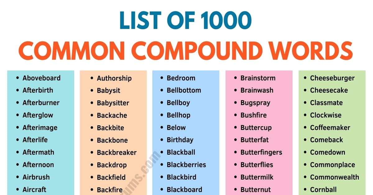 Compound Words | Types and List of 1000+ Compound Words in English 1